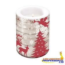 Tavola di Natale Decorazione Natale FORESTA GRANDE CANDELA ROSSO BEIGE H:12 Ø10cm