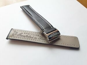Breitling 20mm Black watch strap with White Stitching and Quick deployment clasp