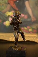 Bronze Sculpture youth baseball Player Figurine boy Batter Statue, Signed: Nick