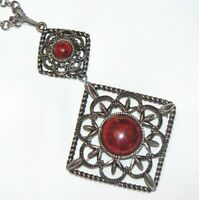 Vintage Runway 70's Sarah Coventry Inca Fire Necklace Pendant Detachable Brooch