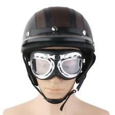 Casque Moto Modulable Bol Vintage Protection Visière Lunette Amovible Brun