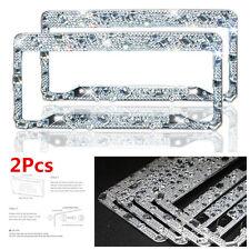 2 Pack Bling Waterproof Glitter Rhinestones Diamond Car License Plate Frame Kit