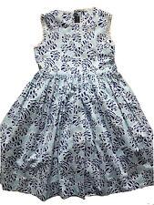 Oscar De La Rents Girls Dress Sz 8 Floral Leafs Print White Blue Navy Lace Midi