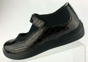 Drew Rose Mary Jane Black Brown Patent Leather Croc Comfort Casual Womens 7.5 W