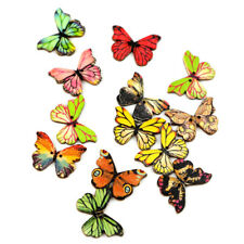 50 Pcs Mixed Butterfly Wooden Button Sewing Scrapbooking Costume DIY Decor Craft