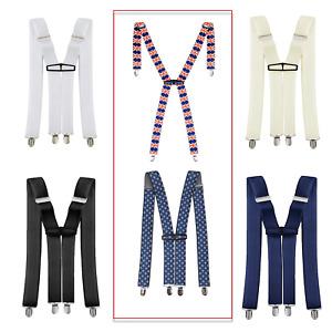 Mens Elasticated Heavy Duty Clip On Trouser Braces Adjustable Suspenders 35mm UK