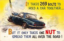 POSTCARD  COMIC  BAMFORTH  COMIC  Motor  Car  Bolts  A  NUT