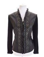 Peter Nygard Black Ruffled Studded 100% Leather Moto Jacket Full Zip Womens Sz M