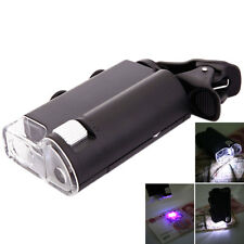 60X-100X UV LED Cellphone Clip Pocket Zoom Jewelry Magnifier Microscope with Bag