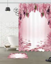 Pink Flowers Waterproof Bathroom Polyester Shower Curtain Liner Water Resistant