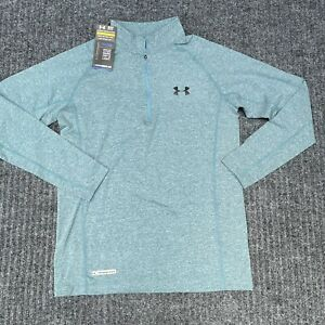 Under Armour Men's Large 1/4 Zip Fitted Compression Shirt Coldgear Heather Blue