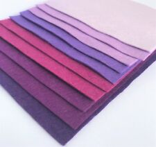 Wool Mix 9 inch Felt Squares x10 Purples Felt Bundle - Soft Craft Felt Pack