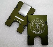 Air Force, BilletVault Wallet/Credit Card Holder, Aluminum RFID protection,Green