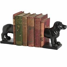 Elegant Wood Dog Dachshund Bookends Office Study Bookcase Book Ends in Black