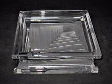 Daum Crystal, Clear w/Frosted Base Art Deco Modernist Stepped 3D, Square Ashtray