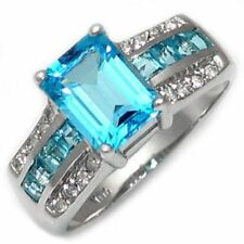 Breathtaking Size 10 Aquamarine Engagement Mens Womens Rare 18K Gold Filled Ring