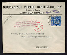 1940 Batavia Netherlands Indies Airmail Cover to USA Handelsbank Bank