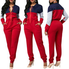 Women Long Sleeve Zipper Colors Matching Casual Fall Long Jumpsuit Romepr