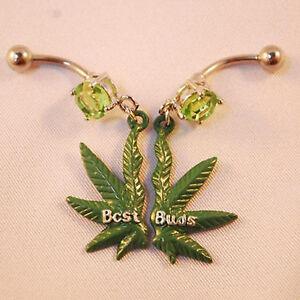Belly Piercing Ring Pot Marijuana leaf Navel Green Weed Best Buds Pair
