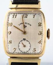 Lord Elgin Men's Vintage 14k Gold Wristwatch Leather Strap w/ Original Case