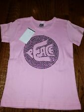 Girls pink peace tee shirt with purple sparkles size 4 American Apparel