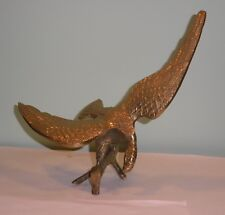 """Brass Eagle Perched On Branch Figurine Statue 11"""" Wing Span 9.5"""" Tall"""
