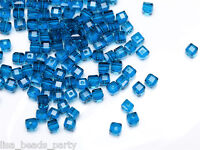 50pcs 4mm Cube Square Faceted Crystal Glass Charm Loose Beads Grass Peacock Blue