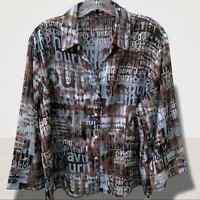 Women's Blouse Artsy Hip Hop Style Button Down Shirt XL