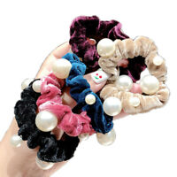 5pcs Women Elastic Hair Band Scrunchie Pearl Hair Ring Tie Rope Ponytail Hold lb