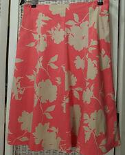 """PRINCIPLES Floral Skirt UK10 32"""" Waist Pink Ivory Bold Floral Summer Skirt 26""""L"""
