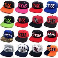 1b850a52c78 TX Texas Dallas Star Printed Embroidery Flat Bill Adjustable Snapback Hat  Cap