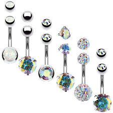 BodyJ4You 6PCS Belly Button Rings 6 Replacement Balls 14G Steel Aurora CZ Navel