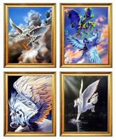 Pegasus Mythical Unicorn Horse Fantasy 4 Set 8x10 Golden Framed Print Wall Decor