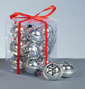 12 Silver Snowflake Jingle Bells Baubles Christmas Tree Decorations arts crafts