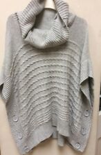 Monsoon Over Jumper Light Grey Cowl Neck Cable Oversized Cotton/Angora Mix S/M