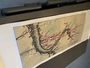 Japanese Scroll Pink Flowers Hand Painted