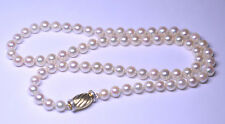 LUSTROUS GENUINE 6.1 MM PEARLS 20 INCH NECKLACE FANCY 14K GOLD & DIAMOND CLASP