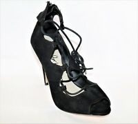 BETTS Brand Black Faux Suede Lace Up Heels Size 9 LIKE NEW