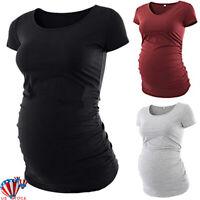 Pregnant Women Maternity Short Sleeve Plain T-Shirt Casual Daily Blouse Tops Tee