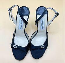Authentic Jimmy Choo New Black Satin Sandal For Women Shoes Heels Size EU38.5