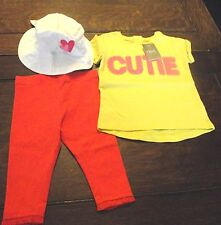 NEXT/Mothercare - Girls T-shirt,leggings & Hat bundle - 3-6 months - BRAND NEW