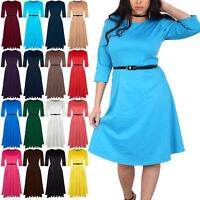 Plus Sizes Ladies Womens Skater Round Neck Frankie Flared Belted Swing Dress