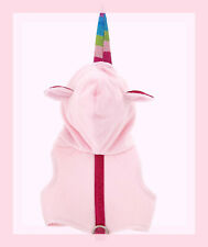 Top Paw Soft Padded Baby Pink Hoodie Unicorn Dog Harness Glitter Rainbow Horn XS