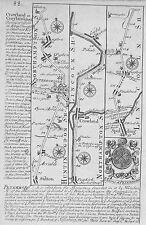 OLD ANTIQUE COACH ROAD MAP LINCOLNSHIRE NORTHAMPTON c1740s by OWEN & BOWEN