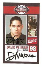 David Veikune 2009 SENIOR BOWL ROOKIE CARD RC Signed Auto Hawaii Autograph