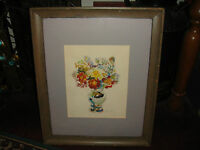 Original Reyna Cox Signed Watercolor Painting Flowers In Vase Framed