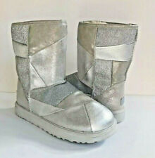 UGG CLASSIC SHORT GLITTER PATCHWORK SILVER SHEARLING BOOT US 9 / EU 40 / UK 7