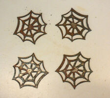 "Lot of 4 Spider Web Halloween Shapes 3"" Rusty Metal Vintage Ornament Craft Sign"