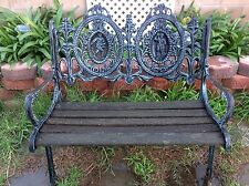 Vintage  1930's Cast Iron Park Bench With Back Design