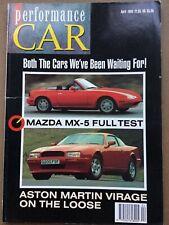Performance Car Magazine - April 1990 - Aston Virage  Mazda MX-5